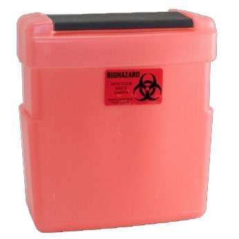 Red Sharps Container for Lead Lined Dual Sharps Unit